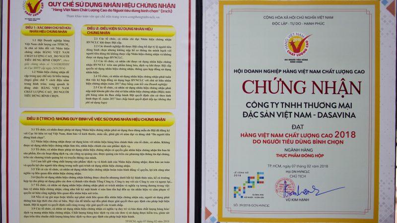 Chứng nhận hàng Việt Nam chất lượng cao năm 2018 do người tiêu dùng bình chọn