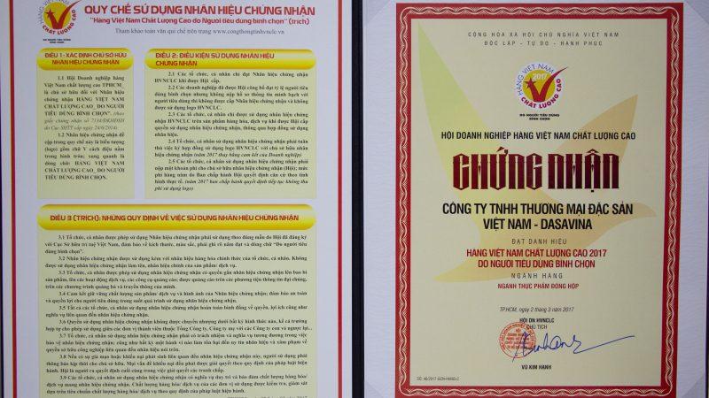 Chứng nhận hàng Việt Nam chất lượng cao 2017 do người tiêu dùng bình chọn